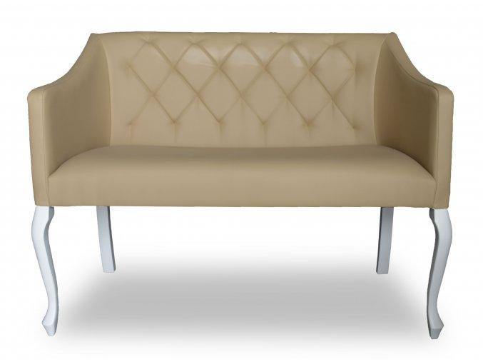 Moderní prošitá lavice Slide se zeštíhleným sedákem, barokní bílé nohy