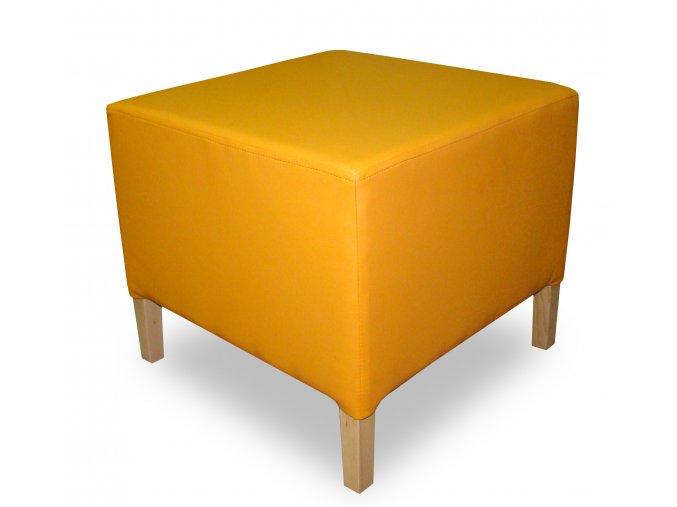 Luxusní taburet s plným sedákem, oranžová koženka