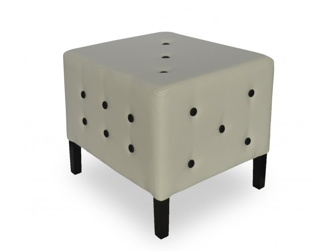 Luxusní taburet s knoflíky a plným sedákem, hrací kostka