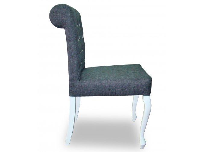 Luxusní prošitá židle Král Slunce s ozdobnými kamínky a opěradlem Roller