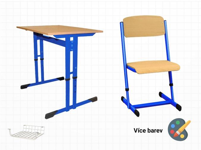 Výškově stavitelná lavice s židlí do škol | Ressed