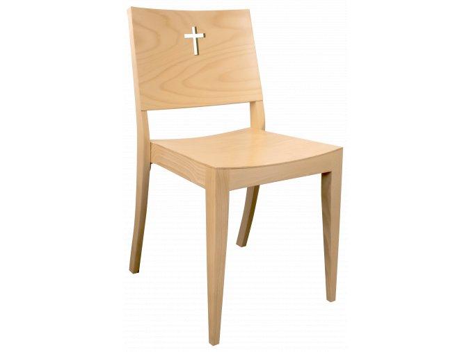 Buková židle s křížem na opěradle pro církevní prostory | Ressed