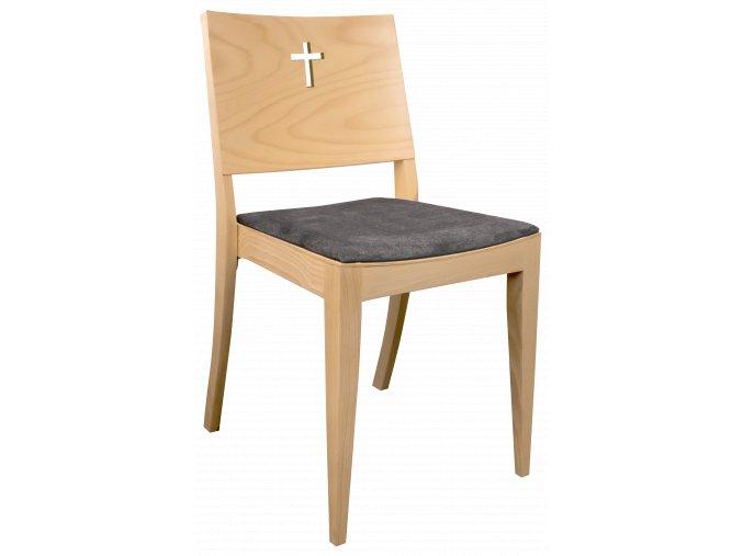 Buková čalouněná židle pro fary a církve s křížem na opěradle | Ressed