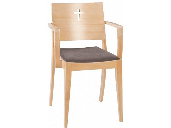 Moderní církevní židle s područky a křížem na opěradle | Ressed
