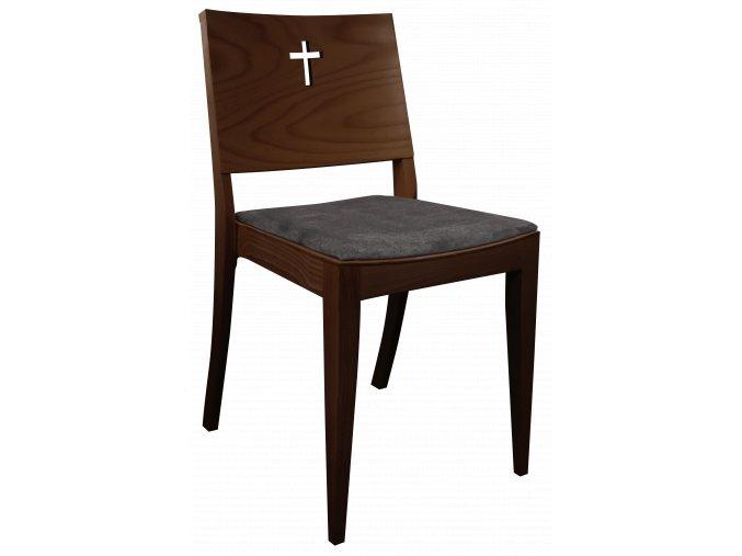 Walnut židle pro církve s křížem a speciálním vzorem čalounění | Ressed