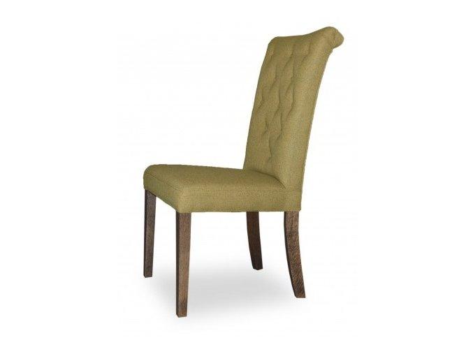 Designová prošitá židle Style, jídelní, olivová látka