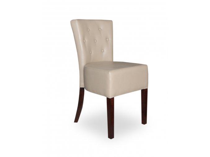 Designová židle Cannes plná s knoflíky, koženka slonová kost