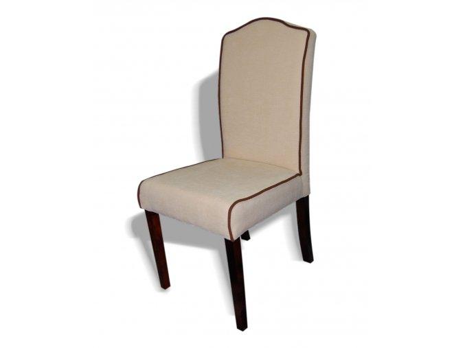 Designová židle Comforta s lemováním, krémové čalounění