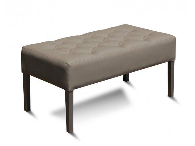 Designový prošitý dlouhý taburet, čalouněný dřevěný