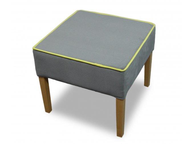 Designový taburet s lemováním, šedý semišový