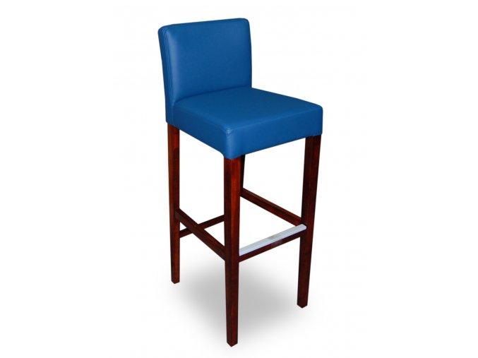 Dřevěná barová židle se zeštíhleným sedákem