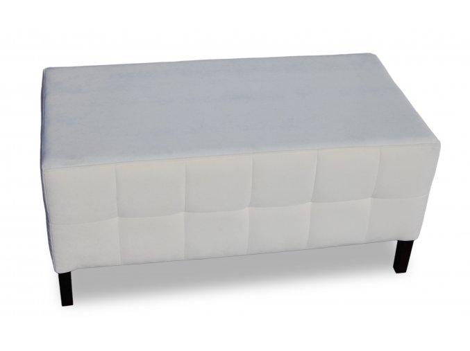 Luxusní prošitý dlouhý taburet, bílý
