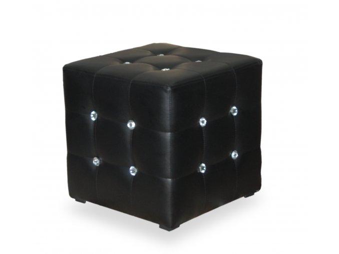 Luxusní taburet prošitý kamínky (kostka), černá koženka