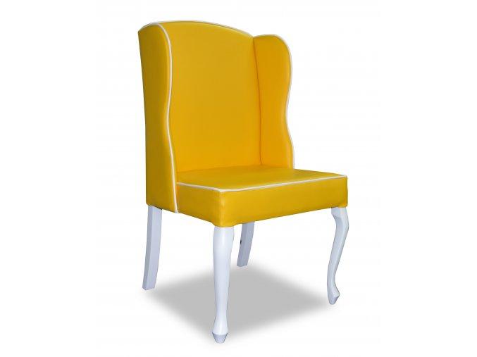 Luxusní židle Ears s lemováním, žlutá