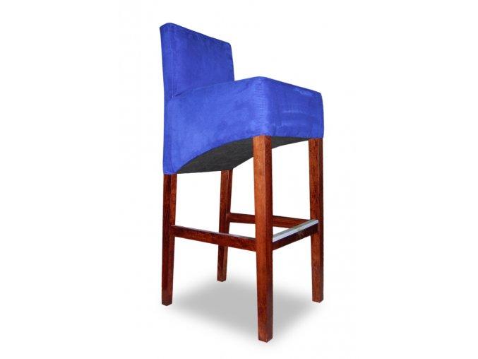 Moderní barová židle se šikmým sedákem, vysoká modrá