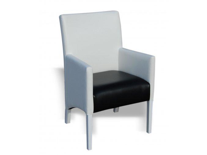 Moderní křeslo se šikmým sedákem, černá a bílá koženka