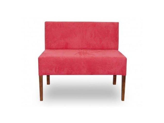 Moderní lavice se zesíleným sedákem, červená bez područek