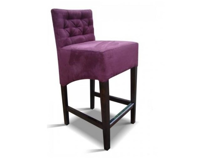 Moderní prošitá barová židle, tmavě fialová