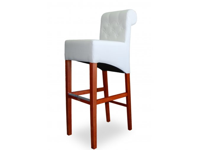 Moderní prošitá barová židle Roller s knoflíky, vysoká bílá