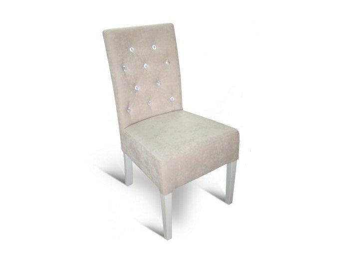 Moderní prošitá židle s kamínky, jídelní, čalouněná, dřevěná