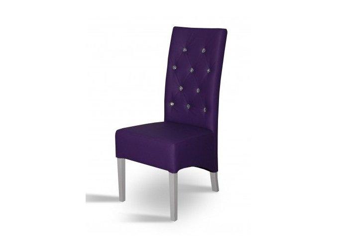 Moderní prošitá židle s kamínky, fialová, polstrovaná