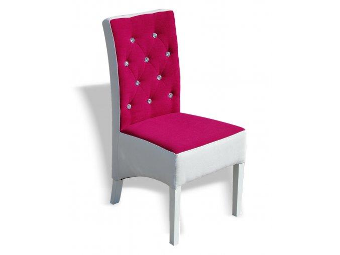 Moderní prošitá židle s kamínky, růžovo-bílá