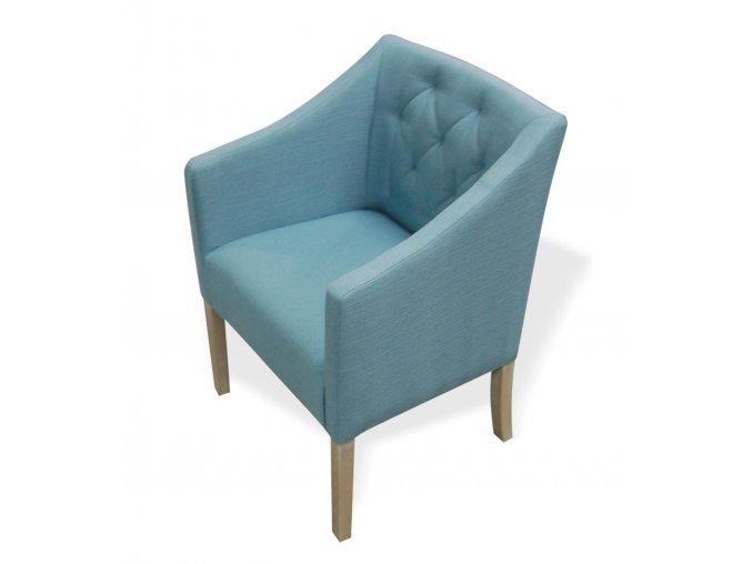 Moderní prošité křeslo Slide, dřevěné čalouněné, světle modré