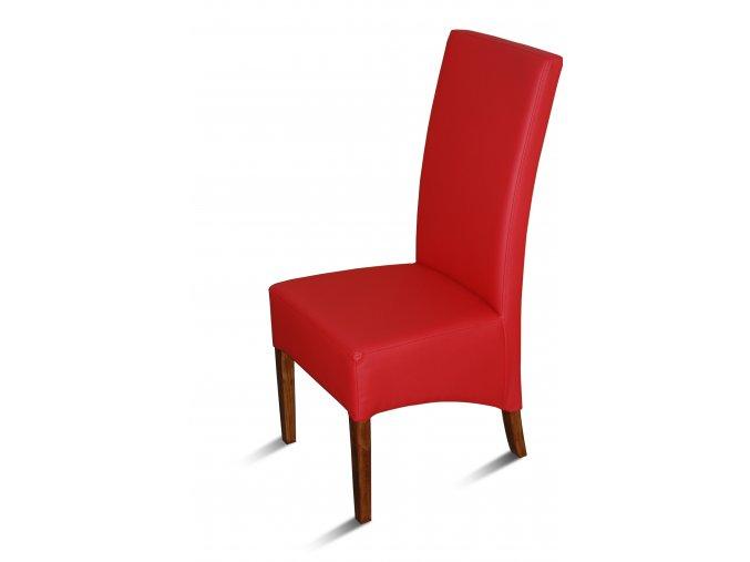 Moderní židle Comforta se šikmým sedákem, červená koženka