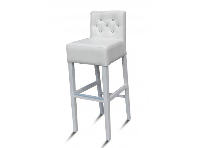 Pohodlná barová židle prošitá kamínky, imitace Swarowski crystal, bílá