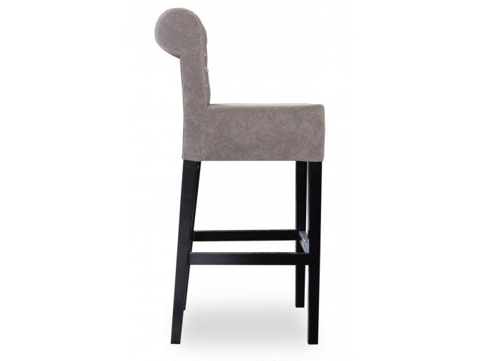 Pohodlná barová židle Roller prošitá kamínky, vysoká šedá