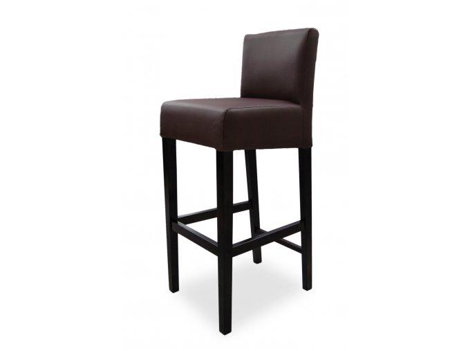 Pohodlná barová židle se zesíleným sedákem, hnědá koženková s opěrkou