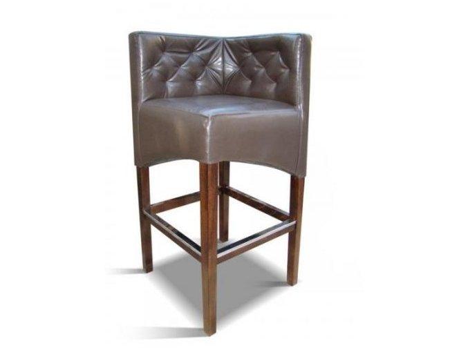 Rohová prošitá barová židle, koženková hnědá lesklá