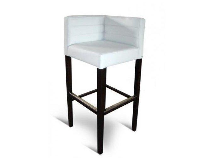 Rohová prošitá barová židle, bílá udržovatelná