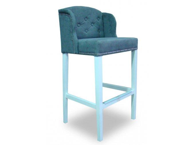 Stylová prošitá barová židle Ears s knoflíky, modrá