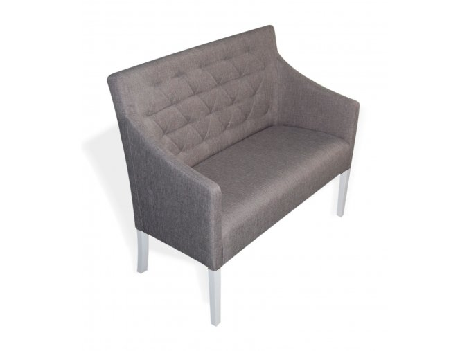 Stylová prošitá lavice Slide, šedá, bílé nohy