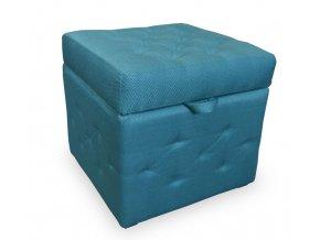 Luxusní taburet prošitý s úložným prostorem, malý, tyrkysová látka
