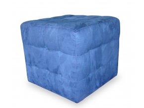 Luxusní prošitý taburet s plným sedákem, modrá kostka