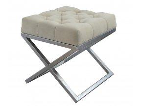 Designový prošitý taburet KA, malý, matně stříbrný