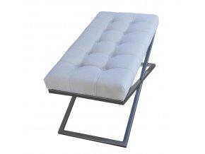 Designový prošitý taburet KB, velký, matně stříbrný, bílá koženka