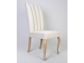 Luxusní prošitá židle Luisa, koženka, bílá