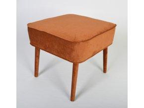 Designový taburet Sandy, hnědá látka, čalouněné nohy