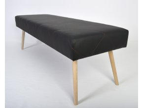 Designový dlouhý taburet Sandy, černá eko kůže