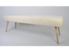 Designový dlouhý taburet Sandy, bílá koženka