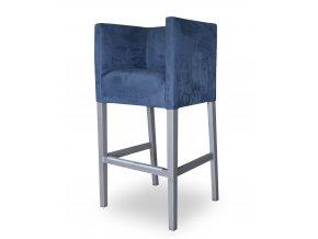 Designové barové křeslo se zesíleným sedákem, modré, bílé nohy