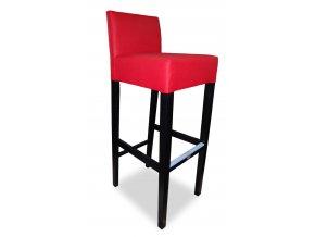 Pohodlná barová židle se zesíleným sedákem , červená, vysoká