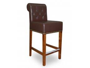 Pohodlná prošitá barová židle s připínáčky a opěradlem Roller