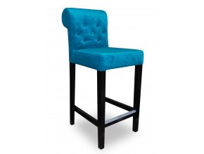 Dřevěná prošitá barová židle s knoflíky a opěradlem Roller