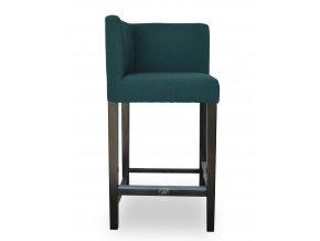 Rohová barová židle se zeštíhleným sedákem, zelená