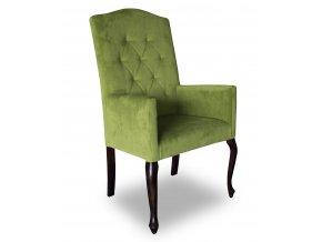 Luxusní prošité křeslo Král Slunce, zelená barva