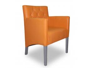 Moderní prošité křeslo se šikmým sedákem, oranžová koženka